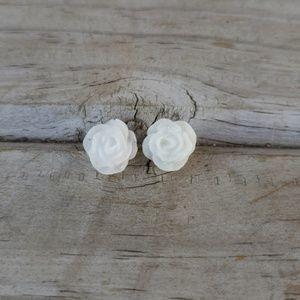 Glitter Rose Earrings in White